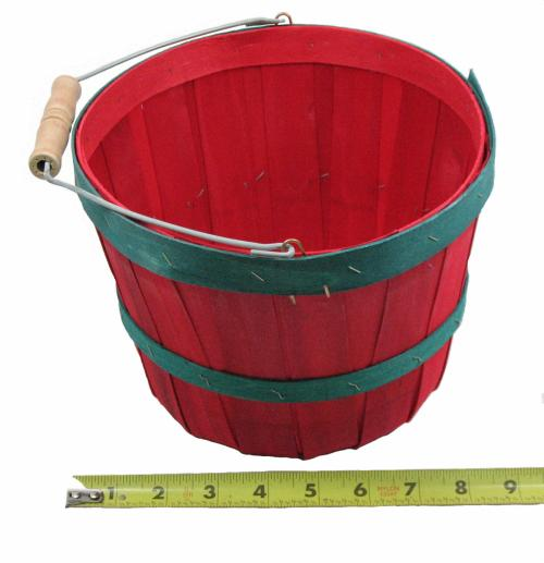 Basket, Half Peck, Red w Green