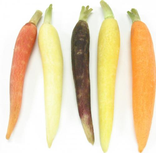 Carrots, Baby, Mixed with Tops, Peeled